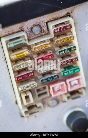Many dirty fuses - Stock Photo