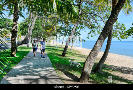 Senior couple walking their dog along the Esplanade, Trinity Beach, a popular Northern Beaches suburb of Cairns, - Stock Photo