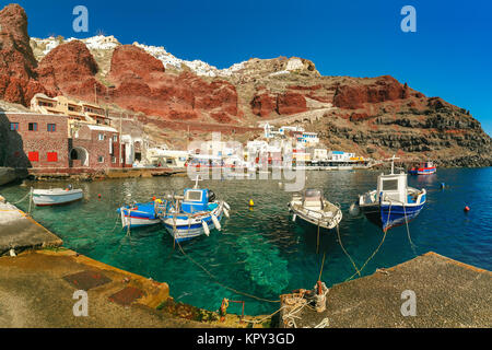 Port Amoudi of Oia or Ia, Santorini, Greece - Stock Photo