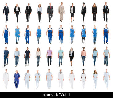 People With Various Occupation Walking Against White Background - Stock Photo