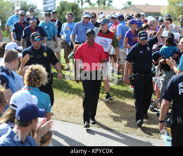 PALM BEACH GARDENS, FL - MARCH 02: Tiger Woods with his daughter Sam after he dropped out after complaining of back - Stock Photo