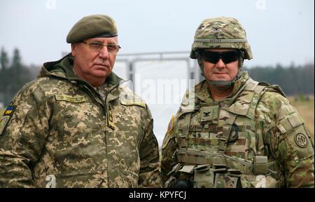 Yavoriv, Ukraine –  Col. Dennis Deeley, the 27th Infantry Brigade Combat Team (forward) commander poses for a - Stock Photo