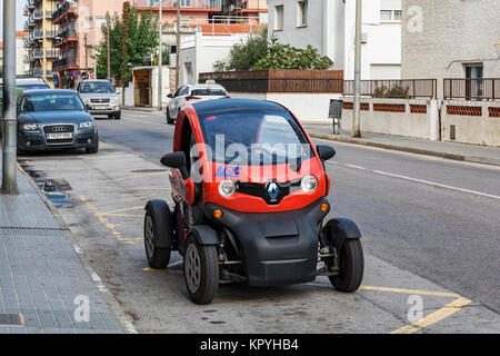 Spain, Blanes - 25.09.2017: Unusual conceptual electric car parked on the city street - Stock Photo