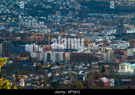 General, long distance, aerial view of Loren, fast growing residential part of Oslo, full of new real estate  investition, - Stock Photo