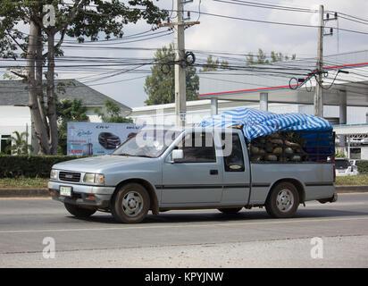 CHIANG MAI, THAILAND -NOVEMBER 28 2017: Private Old Isuzu Pickup Truck. On road no.1001 8 km from Chiangmai city.