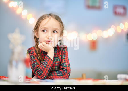 Portrait of Thoughtful Little Girl - Stock Photo