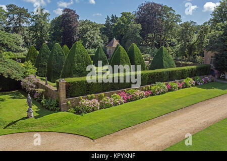 The giant yew pyramids in the Great Court at Athelhampton House, Puddletown, Dorset, England, UK - Stock Photo