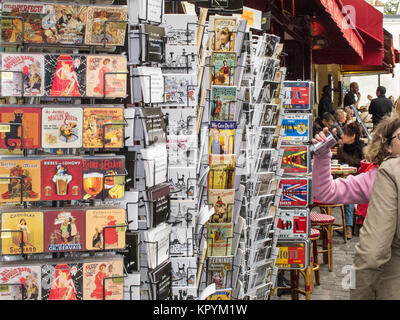 Postcards for sale in La Place du Tertre, Paris France. - Stock Photo