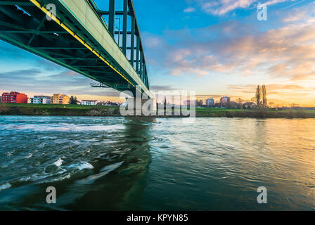 Sunset view at coastline cityscape in Zagreb town, Sava river marble scenery. - Stock Photo