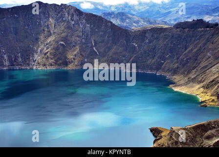 View of Quilotoa a water filled caldera in the west of Ecuador - Stock Photo