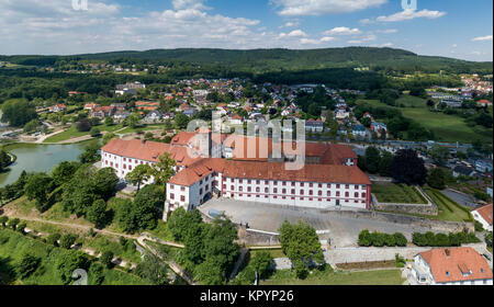 BAD IBURG, GERMANY - JUNE 5, 2017: Aerial view of the historical Iburg castle - Stock Photo