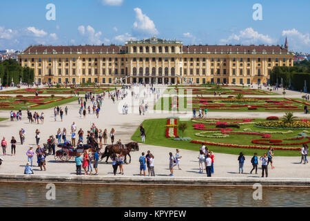 Schonbrunn Palace, imperial summer Baroque residence and gardens, city of Vienna, Austria, Europe - Stock Photo