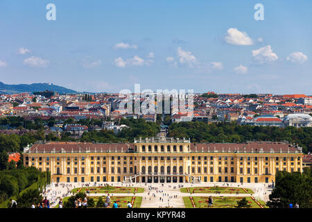 Schonbrunn Palace, imperial summer residence Baroque style architecture, city of Vienna cityscape, Austria, Europe - Stock Photo