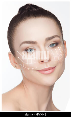 Beautiful young woman. Plastic surgery concept - Stock Photo