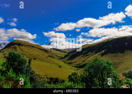South Africa Drakensberge scenic panoramic impressive landscape view, Giants Castle wide panorama with sunny blue - Stock Photo