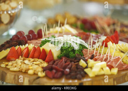 Catering service with various fruits and vegetables - Stock Photo
