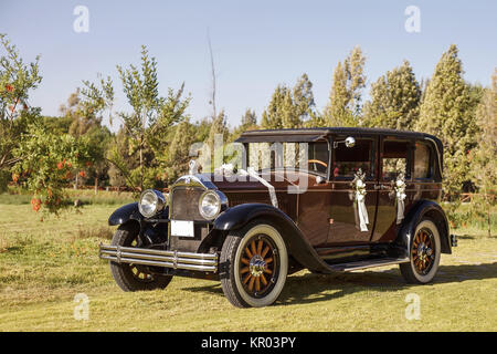 Vintage Wedding Car Decorated with Flowers. - Stock Photo