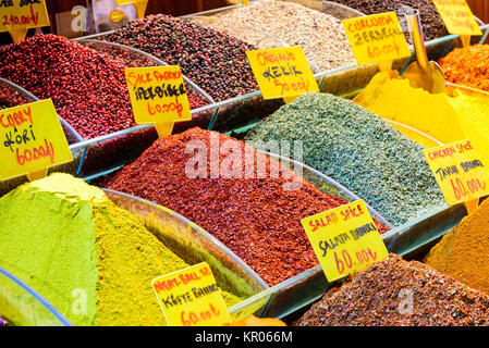 colorful spices for sale at a market in turkey - Stock Photo