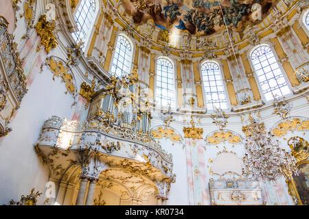 Inside Ettal Abbey (Kloster Ettal), a Benedictine monastery in the village of Ettal, Bavaria, Germany - Stock Photo
