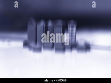 Toy office buildings motion blur abstraction bokeh background - Stock Photo