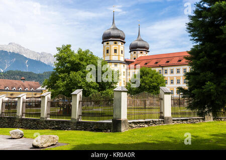 Stift Stams, a baroque Cistercian abbey in the municipality of Stams, state of Tyrol, western Austria - Stock Photo