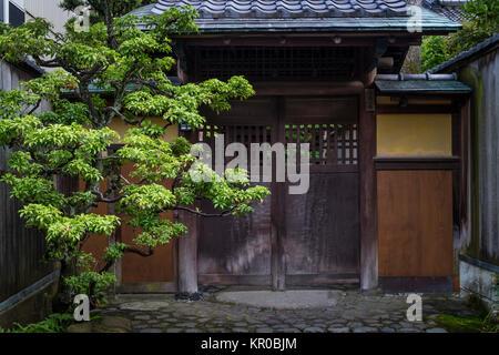 Kanazawa - Japan, June 8, 2017:  Entrance of a samurai house in Nagamachi,the historical samurai district in Kanazawa - Stock Photo