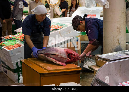 Kanazawa - Japan, June 10, 2017: Fresh tuna fish is prepared at the Omicho Market - Stock Photo