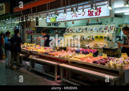 Kanazawa - Japan, June 10, 2017: Variety of fresh ripe fruit for sale at the Omicho Market - Stock Photo