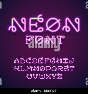 Neon vector font. - Stock Photo