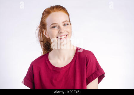 smiling woman posing isolated on white background - Stock Photo