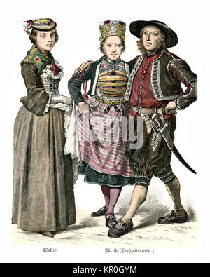 History of Fashion, Costumes of Swiss woman, and Bride and Groom of the late 19th Century. Valais and Zurich - Stock Photo
