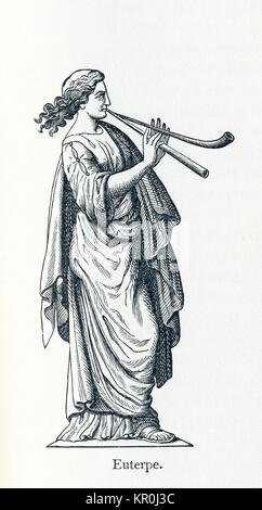 This illustration dates to 1898 and shows a statue of Euterpe. Euterpe was honored as the Muse of music, song, and - Stock Photo