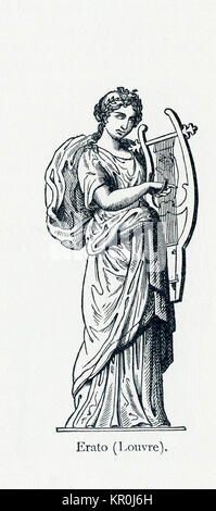 This illustration dates to 1898 and shows a statue of Erato in Louvre Museum. Erato was honored as the Muse of love - Stock Photo