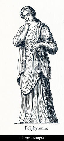This illustration dates to 1898 and shows a statue of Polyhymnia. Polyhymnia was honored as the Muse of hymns. In - Stock Photo