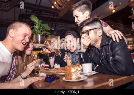 Diverse People Hang Out Pub Friendship - Stock Photo