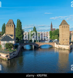 Ponts couverts over ILL Canal, Strasbourg, Alsace, Bas-Rhin Department, France - Stock Photo