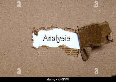 The word analysis appearing behind torn paper - Stock Photo