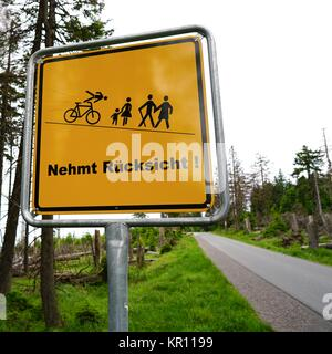 sign on the way to the summit of the brocken with the words  - Stock Photo