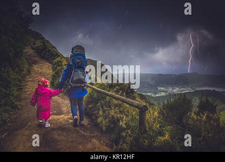 Mother and child on the trail - Stock Photo