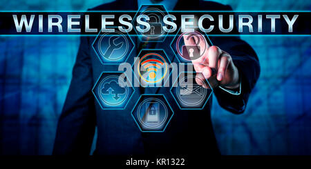 Male Corporate Manager Pushing WIRELESS SECURITY - Stock Photo