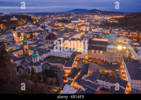 Panoramic view from Salzburg Fortress at sunset in Christmas time, Austria. - Stock Photo