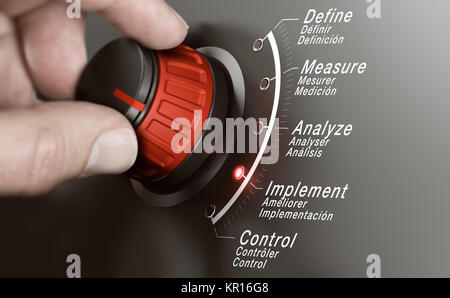 Hand turning a DMAIC knob over grey background and selecting the different phases. Lean management training concept. - Stock Photo