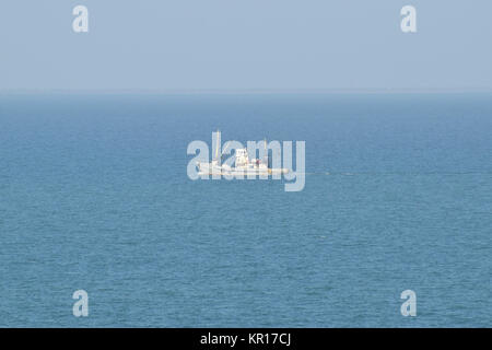 Little old ship in the sea - Stock Photo