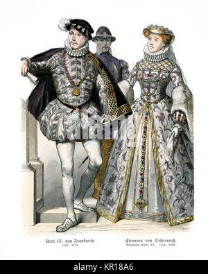 Fashions of the 16th Century, King Charles IX of France and Elisabeth of Austria, Queen of France, his wife - Stock Photo