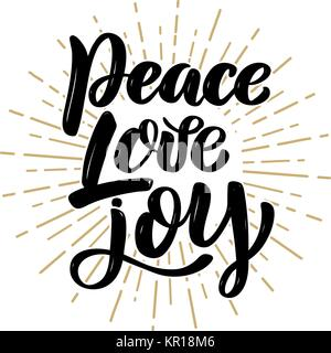 Peace Love Joy Quotes Extraordinary Peace Love Joy Hand Lettering Positive  Quote To Christmas Stock