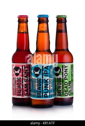 LONDON, UK - DECEMBER 15, 2017: Bottles of brewdog beer on white background. From the Brewdog brewery - Stock Photo