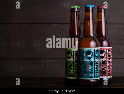 LONDON, UK - DECEMBER 15, 2017: Bottles of brewdog beer on wooden background. From the Brewdog brewery - Stock Photo