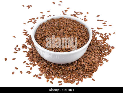 Cumin or caraway seeds in small bowl isolated on white background - Stock Photo
