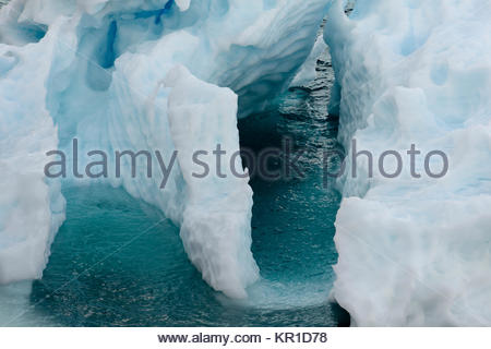 Close up of an Ice formation floating in the icy waters of Antarctica - Stock Photo