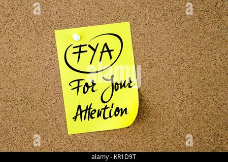 Business Acronym FYA For Your Attention - Stock Photo
